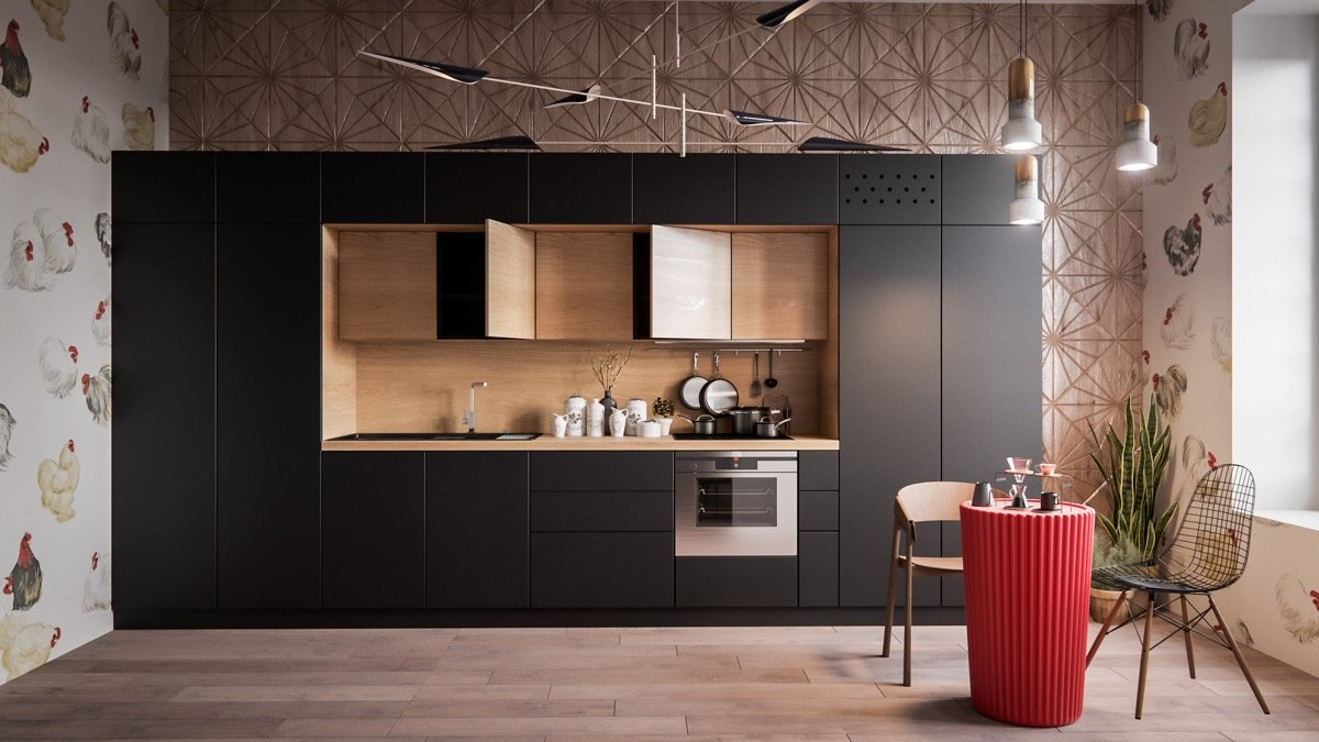 black one wall kitchen - Кухни Квиз
